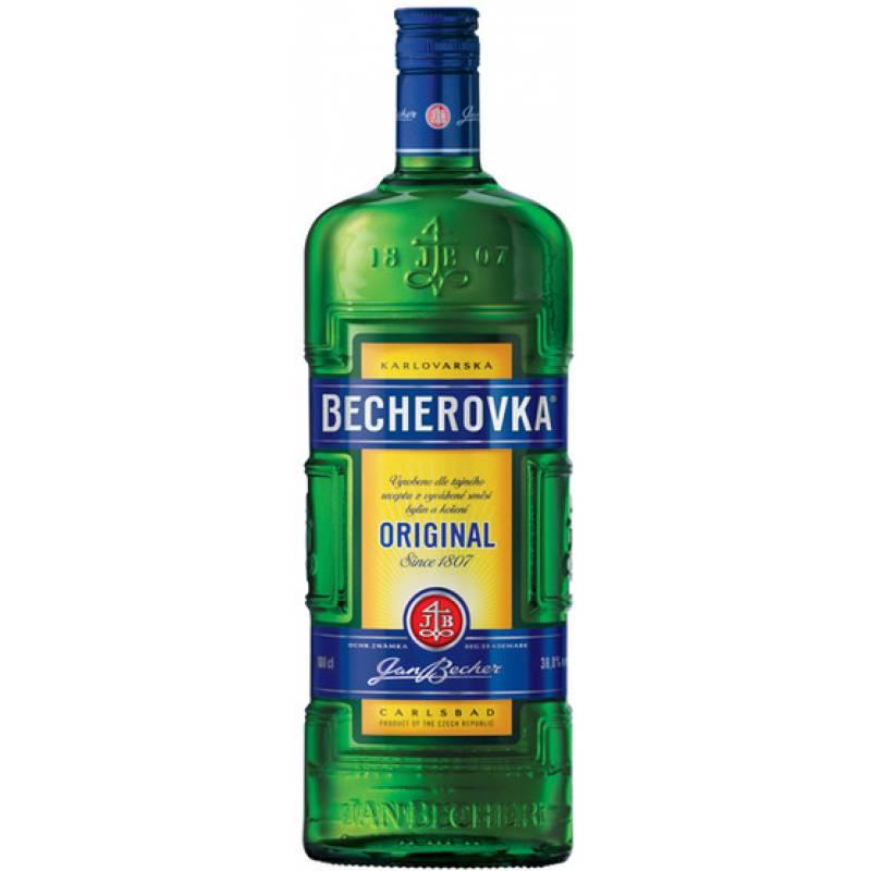 Becherovka 1,0л + рюмка Jan Becher – Karlovarská Becherovka, АТ - АРХИВ!!!