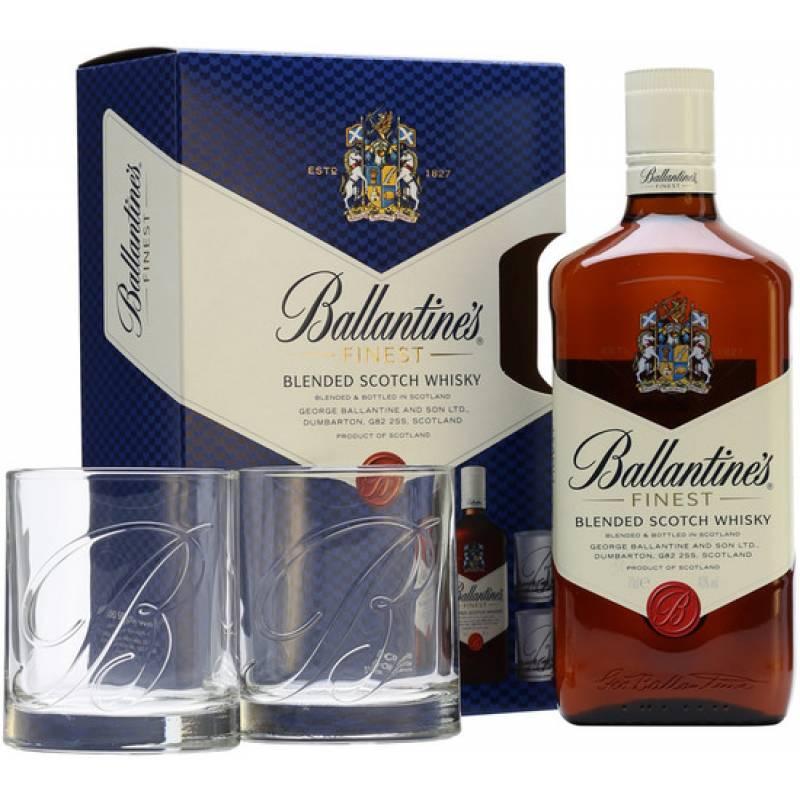 Ballantine's Finest 1,0л + 2 бокала George Ballantine & Son Ltd - АРХИВ!!!