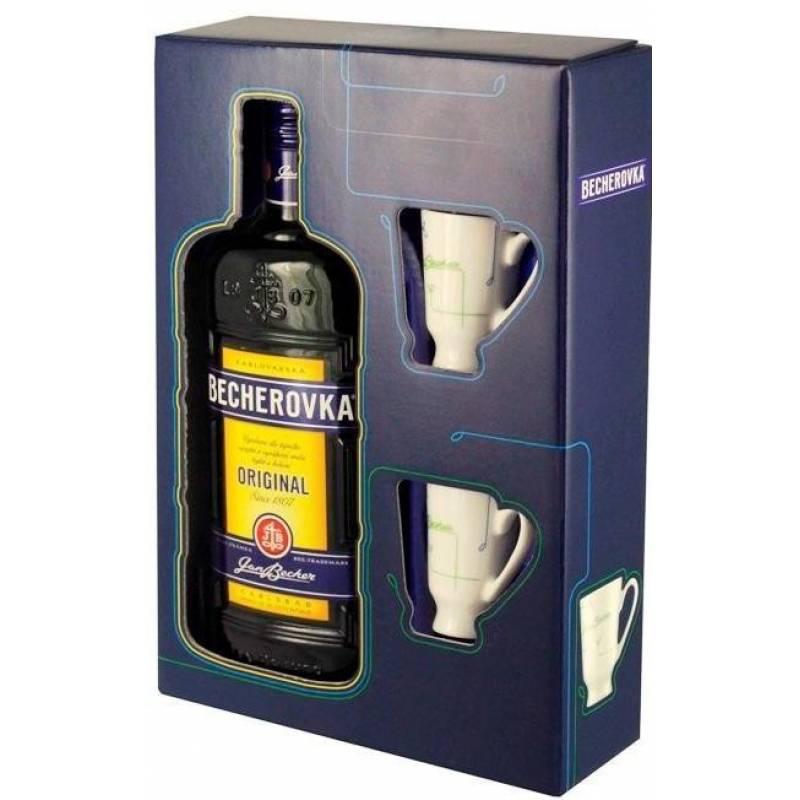 Becherovka 0,5л в коробке + 2 чашки Jan Becher – Karlovarská Becherovka, АТ - АРХИВ!!!