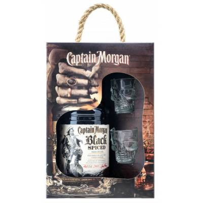 Captain Morgan Spiced Black + 2 рюмки ( 0,7л )